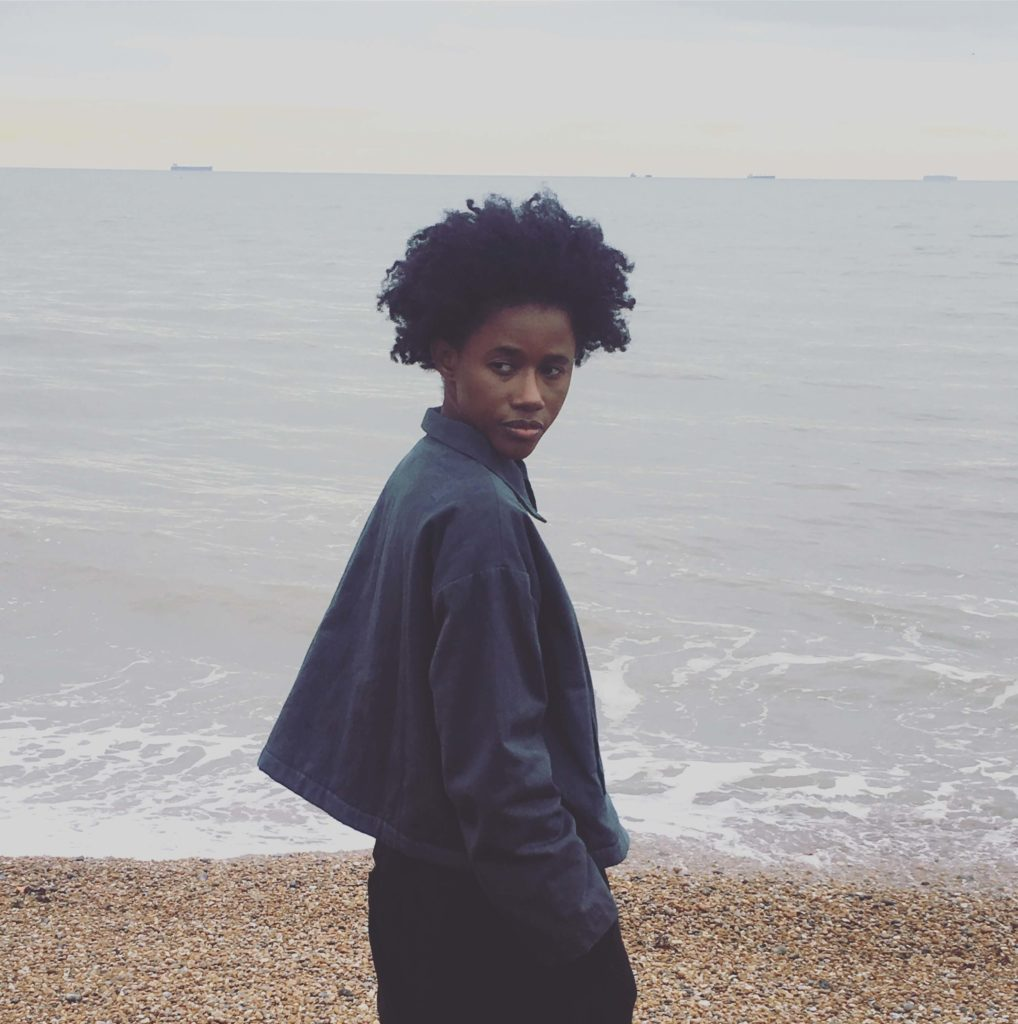 aw19 collection Sula grit jacket gazing out to sea