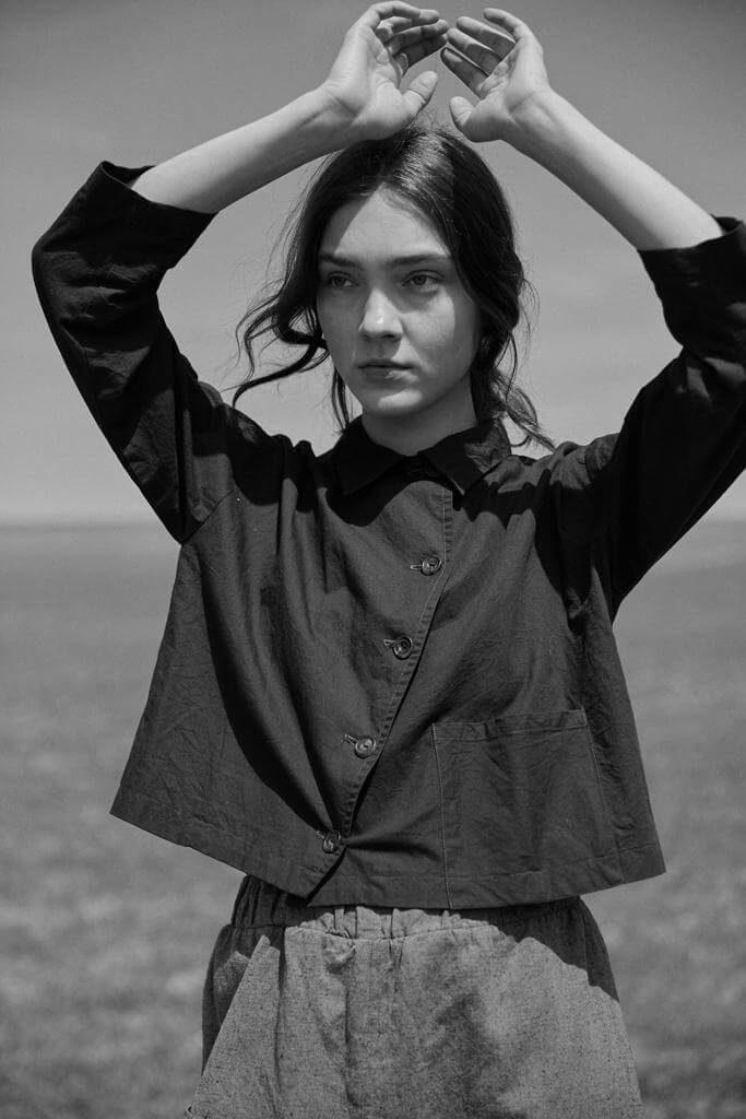 Model wearing sula ss19 soap jacket